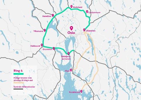 PÅ IDÉSTADIET: Slik kan en mulig Ring 4 som snor seg rundt Oslo bli.