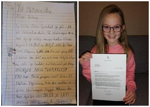 STOLT: Oline Gjesdal viser stolt fram brevet ho fekk av statsminister Erna Solberg. Til venstre er brevet som Oline sendte.