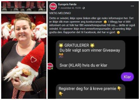 SVINDEL: Nokon har utgitt seg for å vere Europris Førde og prøvd å svindle kundane.