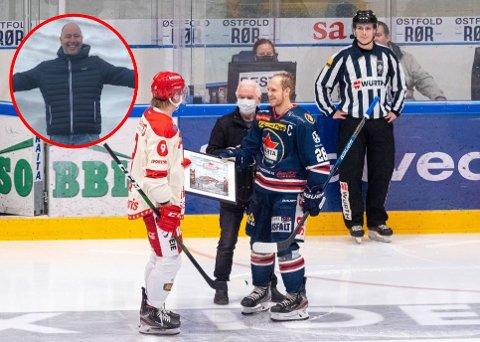 Det var Heine Aarum (innfelt) som hadde skrevet gratulasjonshilsen til Stjernen. Sparta. Før kampen fikk  Stjernen-kaptein Andreas Heier overrakt et bilde av vertenes kaptein Niklas Roest.