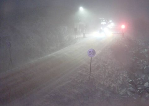 SNØVÆR: Slik så det ut klokken 15.30 på Bjørnfjell.