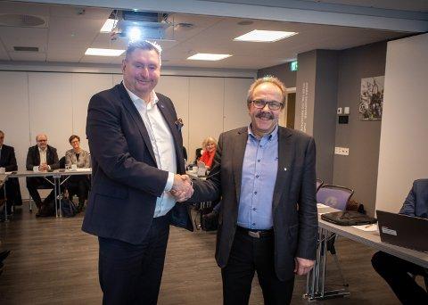 LEDERDUO: Narvik-ordfører Rune Edvardsen og Kvæfjord-ordfører Torbjørn Larsen er valgt til henholdsvis leder og nestleder i Hålogalandsrådet.