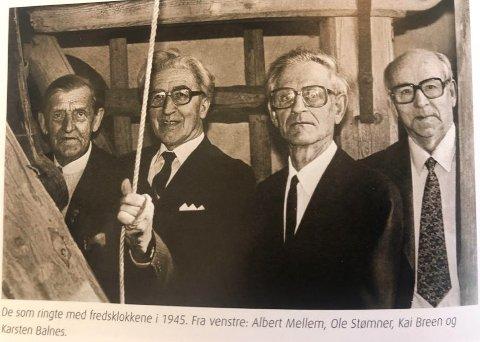 Ringerne som markerte freden for 75 år siden var Albert Mellem, Ole Stømner, Kai Breen og Karsten Balnes. I dag er alle disse fire borte - og de fleste av dem som var voksne da freden kom.
