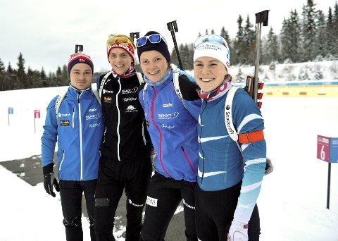 NM: Neste vinter kan de gå senior-NM i skiskyting på hjemmebane. Vingrom IL har overtatt NM fra Trondhjems Skiskyttere & Byåsen SSL. Fra venstre: Kristoffer Jonsson, Vemund Ravnsborg Gurigard, Karoline Knotten og Sigrid Bilstad Neraasen.