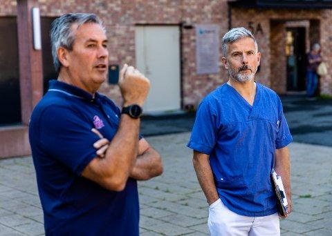 Trond Hårberg, daglig leder ved NTG Lillehammer og Steinar Grue, fungerende kommuneoverlege i Lillehammer kommune.