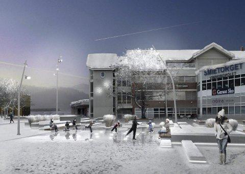 PÅ GLATTISEN: Slik ser en av de tre firmaene som har levert forslag for seg at Gran torg kan se ut om vinteren. 8Illustrasjon: Grindaker AS Landskapsarkitekter