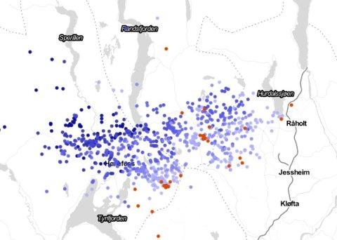 KLOKKA 21.45:  816 lynnedslag på en time på dette kartet.