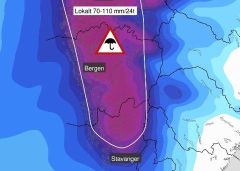 Meteorologene sendte søndag ut dette bildet på sin twitter-konto, hvor det meldes om at det kan komme store nedbørsmengder på Vestlandet i starten av uken. Deretter klarner det opp.