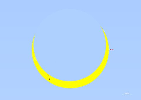 Dekket: Sett fra Helgeland vil 94 prosent av sola være dekket under fredagens solformørkelse.  (Illustrasjon: Oddleiv Skilbrei)
