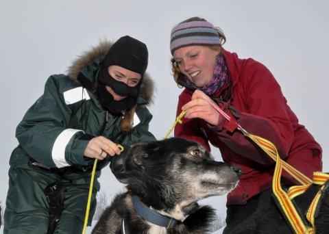 GOD KLEDD: Arbeids- og sosialminister Anniken Hauglie (til venstre) var godt kledd da Åse Østvold hos Bechs Racing Kennel inviterte til tur med hundeslede.