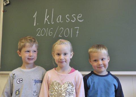 Gimsøyelever: Gjermund Dahl og Maja Gjendahl fra Saupstad og Johan Ellingsen fra Vinje er førsteklassinger fra Gimsøy skolekrets.