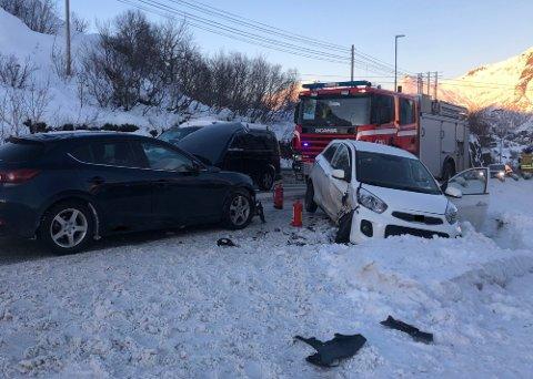 Ved avkjørselen til LAS i bakken opp fra Osan, har det hittil i år skjedd fire ulykker. Dette bildet ble tatt i forbindelse med en ulykke i februar.