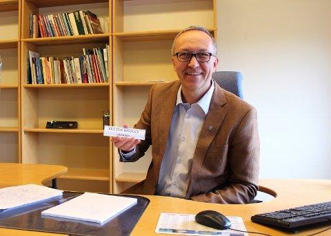 RÅDMANN: Petter Haugen er rådmann i Våler kommune. Her fra hans første dag på jobb.