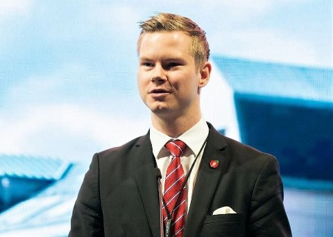 Adrian Smith Stenberg på FrPs landsmøte 2019.