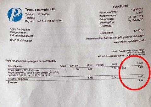 E-FAKTURA: Her er regningen Sandstrand mottok fra Tromsø Parkering.