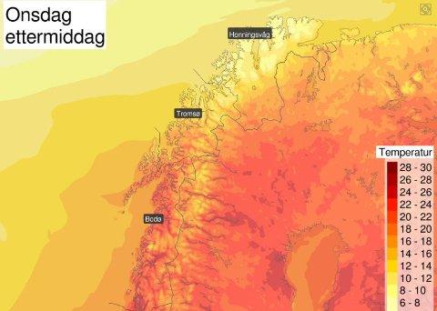 KORTVARIG GLEDE: Slik er prognosene for onsdag ettermiddag. Det blir varmt og fint i nord, men det varer dessverre ikke lenge.
