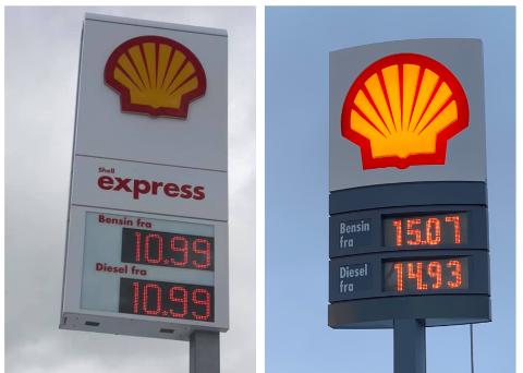 STOR FORSKJELL: Disse to bildene er tatt med bare et par timers mellomrom, men viser at det er stor forskjell på drivstoffprisene i Tromsø (til venstre) og på Finnsnes.