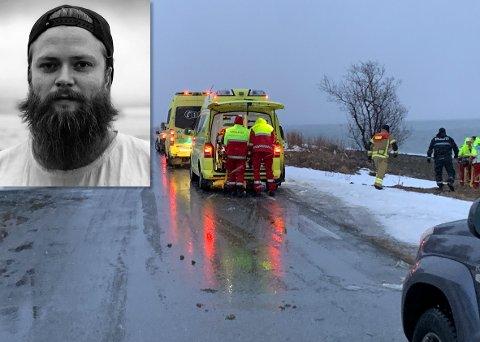 HOPPET I HAVET: Kyrre Nilsen hoppet i havet for å redde de to som forliste utenfor Mjelde på Kvaløya onsdag kveld.