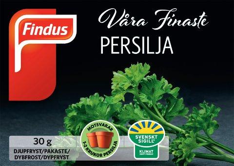 Findus Norge tilbakekaller det fryste produktet «Våra finaste persilja 30g». (Foto: Micke Woltman / Findus / NTB scanpix)