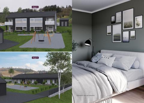 FØRSTE: Boligfeltet i Snertingdalvegen er det første feltet med leiligheter i bygda.