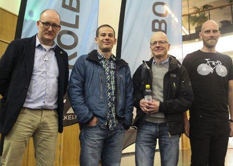 Ruller i gang: (f.v.) Svein Erik Torp (leder KSK), Anders Sønsthagen (kaptein KSK 40 og leder av barne- og ungdomsgruppa), Pål Hannevig (kaptein KSK 35) og Anders Lindstad (kaptein KSK 40) gleder seg til sykkelsesongen.BEGGE FOTO: Atle Larsson