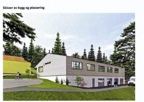 NYTT KLUBBHUS: Slik ser Ski Røde Kors for seg et nytt klubbhus rett ved Hebekkskogen barnehage. ILLUSTRASJON: LINK ARKITEKTUR
