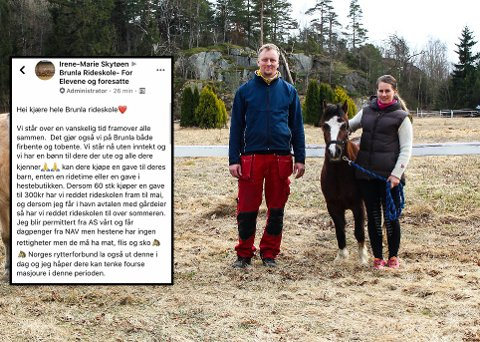 BA OM HJELP: Irene-Marie Skytøen (t.h.) og Tor Wiggo Ellefsen driver Brunla Rideskole. Nå har også de måttet stengt dørene, men selv om inntektene forsvinner, gjør ikke utgiftene til rideskolehestene det. (Arkivfoto: Eveline Røsholt)