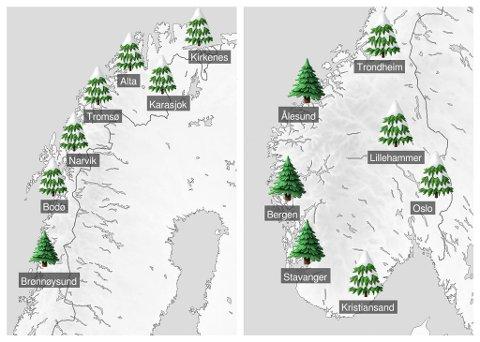 Slik ser de siste prognosene ut fra Meteorologisk institutt når det gjelder hvem som kan vente seg en hvit jul. Kart: Meteorologisk institutt/Yr.no