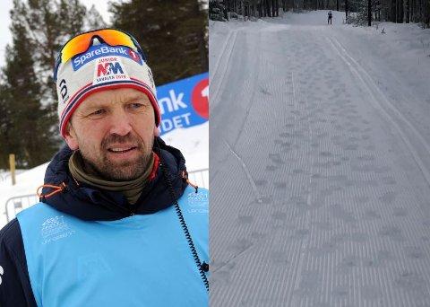 FOTSPOR: Det var tydelige fotspor i midten av løypetraséen bare noen timer etter at løypemaskina hadde kjørt nye spor i lysløypa på Tynset søndag. Leder i skigruppa, Geir Schjølberg, oppfordrer turgåere til å gå ved siden av løypa eller benytte andre turstier.