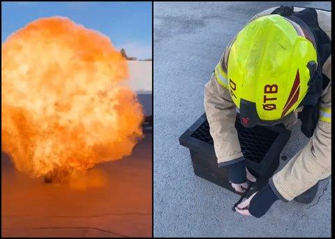 EKSPLOSJON: Dette er hva som skjer når en liten hermetikkboks varmes opp. Østre Toten brannvesen advarer om faren. Brannmannen på bildet er Tor Gudbrand Hoff i Østre Toten.