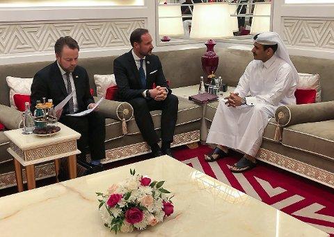 Torbjørn og kronprinsen på toppmøte i Qatar.