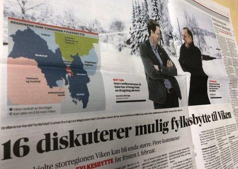 Lunner-ordfører Harald Tyrdal og Jevnaker-ordfører Lars Magnussen (begge Ap) snakker om fylkestilhørighet i dagens Kommunal Rapport. (Faksimile)