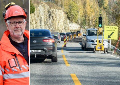 LYSREGULERT: Her graves veien opp. For tiden er det lysregulert på riksvei 7 mellom Heggen og Veme på ukedager.