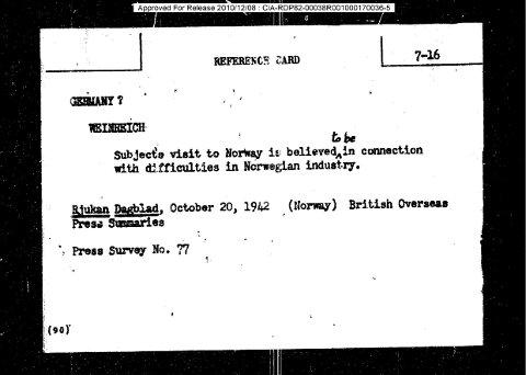 KORTET: Slik ser kortet ut som ligger i de frigitte delene av CIAs arkiv.