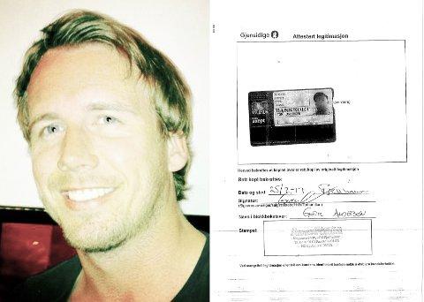 FORFALSKET: Til venstre er den ekte Tom Andersen. Til høyre er lånedokumentet fra Gjensidige. Svindleren har brukt et ekte bankkort, men manipulert inn sitt eget bilde.