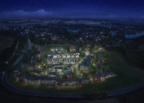 Illustrasjon av fremtidige bygninger på Fossumjordet