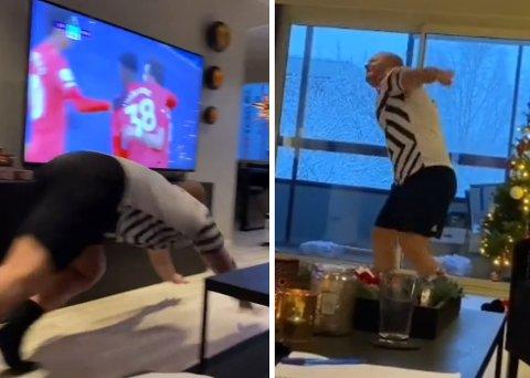 Her går Tim bananas: Målet til Bruno Fernandes mot Leicester gikk Manchester United-fantast Tim Iversen til å juble heller heftig i egen stue på Skjetten. Samboeren tok video av det hele. Den er nå sett mer enn 4,5 millioner ganger.