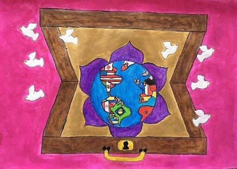 """TORVBRÅTEN: Lone Jenstad står bak denne tegningen som også er kåret til skoleviner i Lions tegnekonkuranse """"Journey of Peace """", og skal representere Røyken i distriktsfinalen.."""
