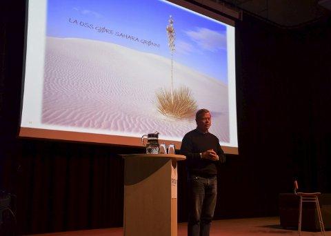 Asko: Torbjørn Johansson fortalte om grønne visjoner og en kyststi som kan stoppe hele kaiprosjektet. ALLE FOTO: INGUNN HÅKESTAD BRÅTHEN