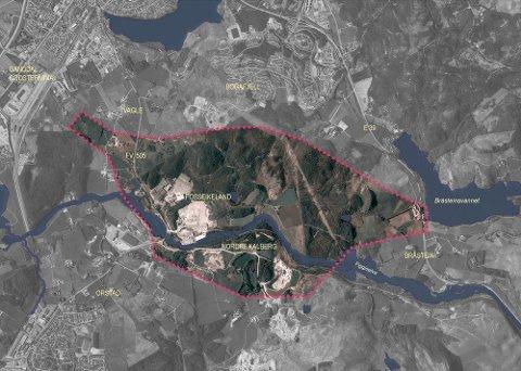 I dette området skulle det egentlig ha blitt bygget en veiforbindelse mellom Jæren og E39, men siden høsten 2019 har Vegvesenet lagt alt planarbeid på hylla. Foto: Statens vegvesen (arkiv)