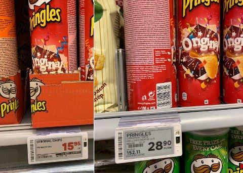 Potetgull av type Pringles er det samme uansett hvor du reiser - men prisen varierer. Her fra henholdsvis Hypermat og Meny.