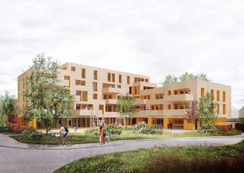 SIGNALLBYGG EN: Høgvoll skal huse Midt-Telemark Nav i første etasje og får 20 leiligheter oppover i etasjene. illustrasjon: Ola Roald Arkitektur AS