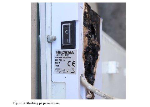 Politiet advarer etter at et branntilløp startet i en panelovn med glassfront. Panelovnen er produsert av Biltema og er tidligere tilbakekalt på grunn av at ovnen kan ha alvorlige feil. Foto: Politiet / NTB