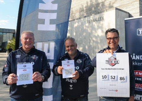 UT På TUR: Nestleder Truls Enge (til venstre), sportslig leder Øyvind Grette og leder Geir Åkvik i Teie Håndballklubb håper de får med seg riktig mange på det nye trimtilbudet.