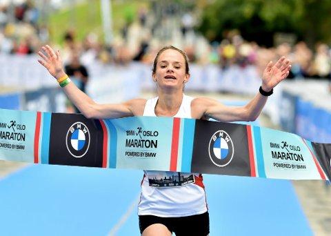 NM-GULL: For tredje gang var det verdalingen Runa Skrove Falch som var først over målstreken under NM i halvmaraton som ble arrangert i Oslo lørdag.