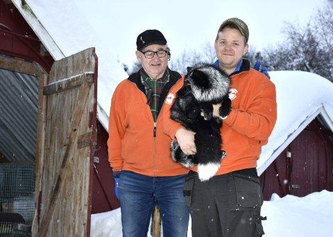 Holder stand: Odd Harald Nordsveen og Erik Andrè Flate Lien holder fortsatt stand med pelsdyroppdrett i Vang. De synes forslaget fra Venstre om å erstatte pelsdyroppdrettet med cannabisproduksjon er latterlig.
