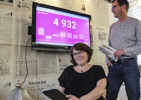 ØKER:  Konstituert daglig leder Beate Schjølberg og konstituert ansvarlig redaktør Inge Morten Smedås konstaterer at stadig flere bruker Retten digitalt.