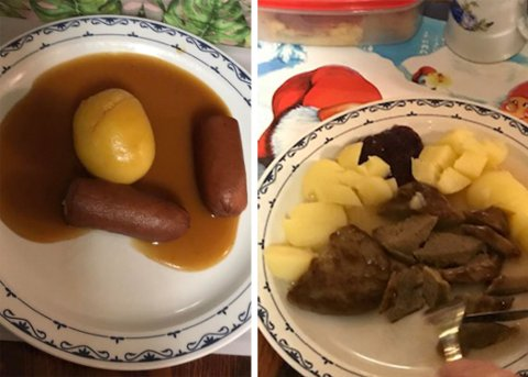 NULL GRØNNSAKER: Dette er to ulike middager Hanssens bestefar fikk servert 20. november (t.v.) og 3. desember i år.