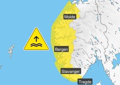 HØY VANNSTAND: Vannet er ventet å stige til 40-60 cm over det som er oppgitt i tidevannstabellene.