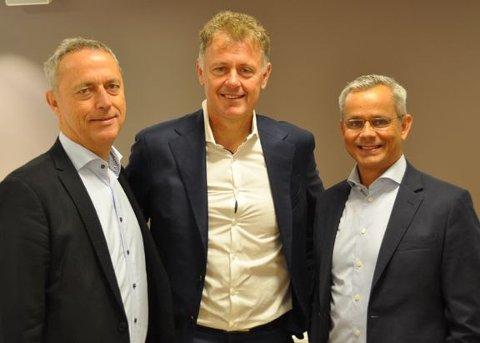 Konsernsjef Are Stokstad, Amedia, sjefredaktør og administrerende direktør Gunnar Stavrum, Nettavisen og administrerende direktør Espen Asheim, Egmont Publishing.